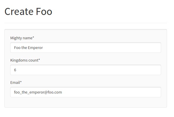 Foo form without submit